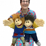 woman with girl puppet and boy puppet